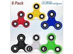 XHBoutique Fidget Tri Spinner Comb Hybrid Ceramic Bearing Hand Spinners Fidget toys for ADHD  ADD  OCD  Autism and Anxiety in school  classroom  home and office 6 Pack