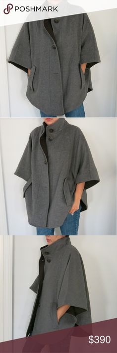 Pierre Cardin Stylish Gray Cape Chic and fashion forward Pierre Cardin gray cape. Sophisticated shape and color gives it an elegant air while still keeping it fresh and fashionable. Trendy and modern, this is one coat you will want to always wear out! In excellent condition as seen in pictures and from a smoke free and pet less home. Pierre Cardin Jackets & Coats Capes
