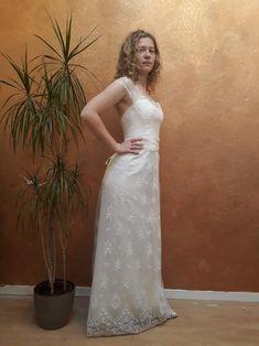 Vintage wedding dress Lace wedding dress wide strap dress   Etsy Polka Dot Wedding Dress, Striped Wedding, Lace Wedding, Wedding Dress Sleeves, Dress Lace, Wedding Dresses, Embroidery Dress, Lace Back, Bridal