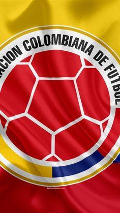 Colombia equipo de fútbol nacional, logotipo, emblema, la bandera de Colombia, la federación de fútbol, Campeonato del Mundo, el fútbol, la seda textura