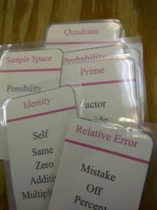 This teacher made her own set of Math Taboo game cards for Algebra (8-10th grade, maybe?)  Free share of the top words from Regents exams.