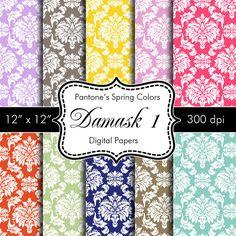 Pantones Spring Colors Damask 1 Digital Papers for by HeadsUpGirls, $5.50