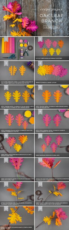 Looking for beautiful fall decor that's easy to craft? We'll show you how to make these ombré oak leaf branches using crepe paper and PanPastel colors. Crepe Paper Flowers, Felt Flowers, Diy Flowers, Fabric Flowers, Tree Crafts, Flower Crafts, Paper Crafts, Paper Leaves, Paper Tree