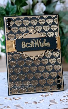 Gold and Black Diamond Best Wishes Patterned Paper Card by Christina Griffiths | Spellbinders