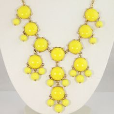 NEW Small Size20mm Yellow Bubble Necklace,Handmade Smooth Bib Necklace,Bubble Jewelry,Statement Necklace-BN045