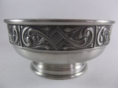 Nordic Pewter Centerpiece Bowl Footed Midcentury by acornabbey