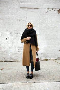 Camel coat and black oversize scarf
