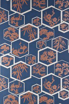 OFF RRP - Buy Farrow & Ball Shouchikubai Wallpaper in Stiffkey Blue / Stone / Metallic Bronze from Decor Supplies. Free Wallpaper Samples, Bold Wallpaper, Cheap Wallpaper, Paper Wallpaper, Print Wallpaper, Colorful Wallpaper, Wallpaper Patterns, Free Samples, Art Nouveau