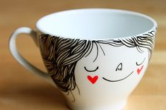 Coffee cup by Heidi Burton. Imagine I use this coffee cup every morning. Crackpot Café, Coffee Cups, Tea Cups, Sharpie Art, Sharpies, Sharpie Projects, Sharpie Markers, Diy Mugs, Creation Deco