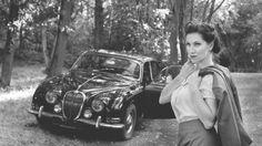 Woman with oldtimer jaguar black and white Model Dollycrow Black And White Models, Bmw, Woman, Vintage, Women, Vintage Comics