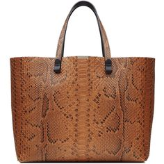Victoria Beckham Python Leather Tote (97.035 RUB) ❤ liked on Polyvore featuring bags, handbags, tote bags, purses, brown, leather tote purse, purse tote, handbags totes, leather tote handbags and brown tote bags