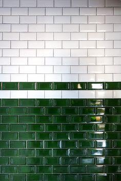 beveled green white metro tile   restaurant and bar design   deli style   nostalgic   traditional   hotel design   London   Hilton hotel