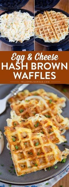 These easy, cheesy hash brown waffles are just the hack you need to simplify your breakfast routine! #breakfastlovers #ad @SimplyPotatoes via /yellowblissroad/
