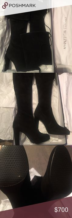 "Stuart Weitzman Highland over knee suede boots 8.5 Brand new in box. Purchased this during holiday season! Stuart Weitzman Highland Over the knee suede boots. A must pair in your closet. 4"" heel, 24"" boot shaft; 12""-15"" calf circumference (stretches to fit calf) Stuart Weitzman Shoes Over the Knee Boots"