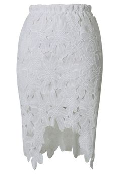 Hi-Lo Hem Flower Cut Out Pencil Skirt in White
