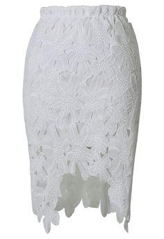 White Asymmetrical Lace Skirt US$22.50