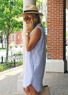 Shirt dress w/ Pockets & Panama Hat Office Fashion Women, Dress Hats, Outfits With Hats, Summer Hats, Women's Fashion Dresses, Fashion Hats, Hats For Women, Ladies Hats, Spring Summer Fashion