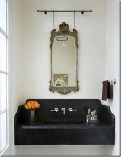 For Bar area: Note the detail on the side wall how the soapstone is molded.  Suggest this for exposed side.  Wall mounted sink with soapstone
