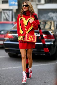 Anna Dello Russo giving us are first look at the Jeremy Scott for Moschino collection. #MFW