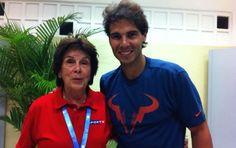 Maria Esther Bueno e o tenista Rafael Nadal no Aberto do Brasil (Foto: Reprodução Facebook)
