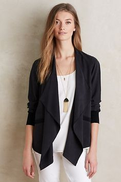 Here's a look very in for summer:  Waterfall Blazer,  blouse, white pants & statement necklaces (blazer, necklace from #anthropologie)
