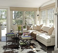 Casual Family Rooms - Fieldstone Hill Design - windows, neutrals, collection of tables instead of single coffee table