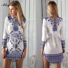Adogirl New Spring Autumn Women Dress Long Sleeve Blue And White Printing Beach Dress Fashion Ladies Casual Bohemian Dresses