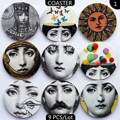 Wood Craft Fornasetti Coasters Home Decor Wooden Tablemat Artesanato E – Pitchy Wooden Delights