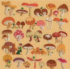 The Mushroom Cottage Embroidery Art, Embroidery Patterns, Art Inspo, Needlework, Stuffed Mushrooms, Cross Stitch, Arts And Crafts, Artsy, Textiles