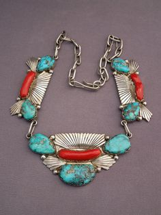 Stunning Dan Simplicio Rare Zuni Turquoise and Coral Necklace | eBay