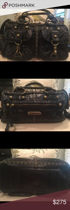 Isabella Fiore Satchel Beautifully crafted black leather satchel. Details speak for themselves in the pictures. Plenty of pockets and zippers for extra things. Authentic. Great condition! Isabella Fiore Bags Satchels