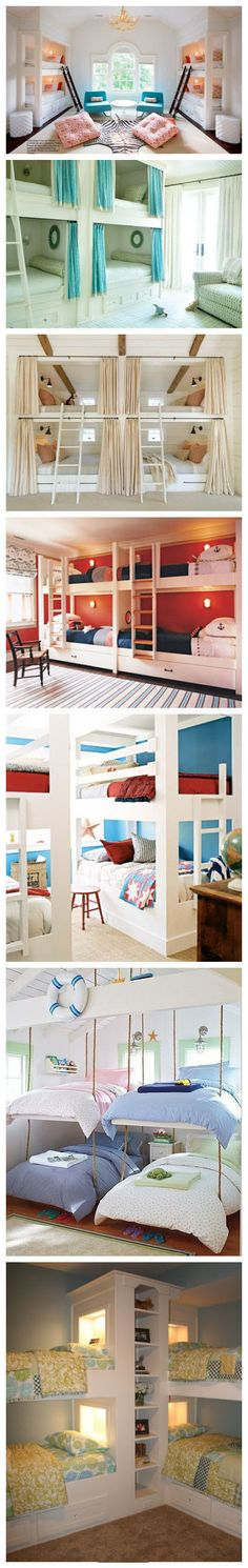multiple beds in one room!  amazing ideas!