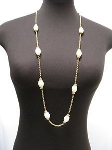LONG STRAND NECKLACE--JOJO--Gold Tone Chain Necklace-Pearls & Rhinestones