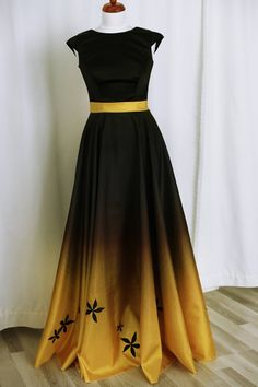 Black/yellow gradient tafetta dress. Made in our studio.