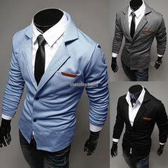 Mens Casual Dress Slim Fit Stylish Two Button Suit Blazer Coats Jackets 3color