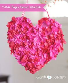Valentine Craft: Make a Tissue Paper Heart Wreath With Your Kids
