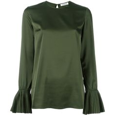 P.A.R.O.S.H. Piano Blouse (£235) ❤ liked on Polyvore featuring tops, blouses, green, green top and green blouse
