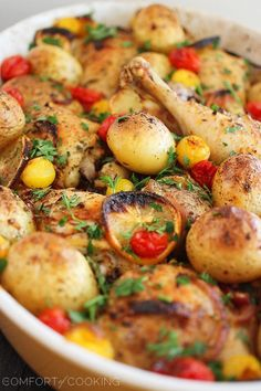The Comfort of Cooking » Easy Roasted Lemon Chicken with Tomatoes and Potatoes