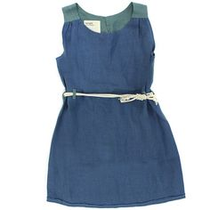 B+G Blue/Green Belted Dress
