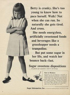 1965 Weird Sugar Ad Cranky Betty Little Girl Photo Print Health Diet Funny Vintage Advertising Wall Art Decor