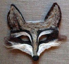 Needle felt wolf mask