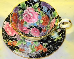 Shelley Chester One Art Deco Black Chintz Tea Cup and Saucer | eBay