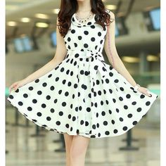 Wholesale Chic Style Ruffled Polka Dot Print Sleeveless Chiffon Women's Dress Only $4.64 Drop Shipping | TrendsGal.com
