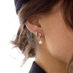 2nd Ear Piercing, Double Ear Piercings, Unique Ear Piercings, Ear Peircings, Double Earrings, Rose Gold Earrings, Stud Earrings, Ear Jewelry, Cute Jewelry