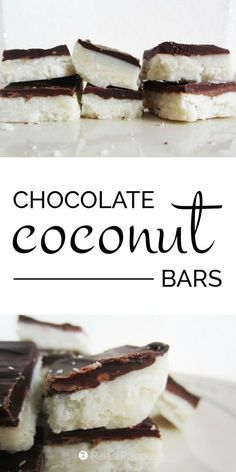 Chocolate Coconut Bars: A truly delicious grain-free, gluten-free, dairy-free, egg-free, refined sugar-free treat. They taste like mounds (or add almonds for almond joy) and are totally guilt free! Sugar Free Desserts, Sugar Free Recipes, Gluten Free Desserts, Healthy Desserts, Delicious Desserts, Sugar Free Treats, Healthy Foods, Coconut Recipes, Real Food Recipes