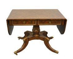 Maitland Smith Drop Leaf Neo-Classic Pedestal Server Table | Leffler's Antiques