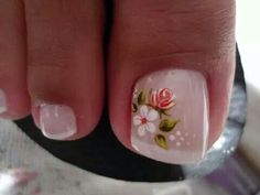 . Pedicure Designs, Pedicure Nail Art, Toe Nail Designs, Toe Nail Art, Toe Nails, Nails Design, Jamaica Nails, Flower Nails, Bling Nails