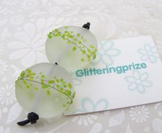 Lampwork Glass Beads Apple Green Blossom Smaller Pair by shineon2, £5.00