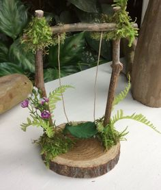 """Fairy Swing by Olive * 6 """"tall by wide Faerie Swing, Fae Swing, Fairy, Fairy Accessories - Alles für den Garten Mini Fairy Garden, Fairy Garden Houses, Fairy Gardening, Fairies Garden, Gardening Tips, Gardening Magazines, Gardening Quotes, Fairy Crafts, Garden Crafts"""