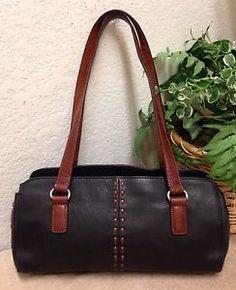 Fossil Black Pebble Leather Handbag Satchel Shoulder Bag Brown Trim Medium  Vtg  0ca205e29db00
